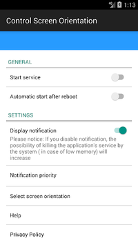 control screen rotation APK screenshot 1