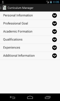Curriculum Manager / Resume APK screenshot 1