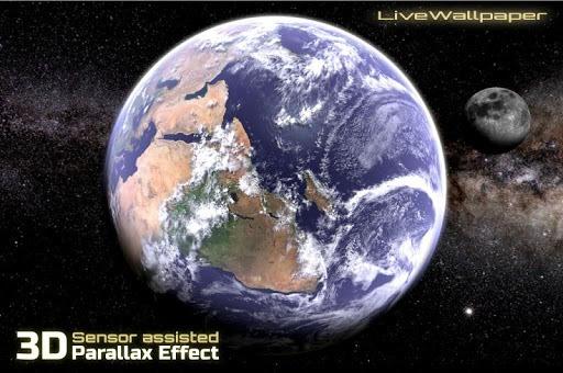 Earth & Moon in HD Gyro 3D Parallax Live Wallpaper APK screenshot 1