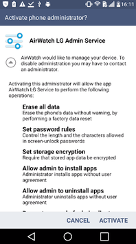 AirWatch LG Service APK screenshot 1