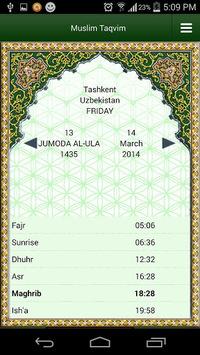 Muslim Taqvimi (Prayer times) APK screenshot 1