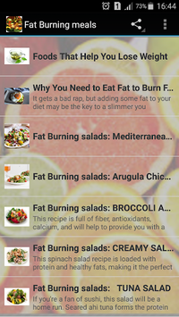 fat burning meals APK screenshot 1
