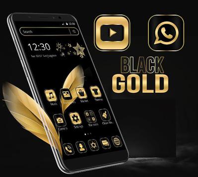 Black Gold Feather Theme APK screenshot 1