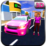 Pink Car Taxi Girl Driver icon