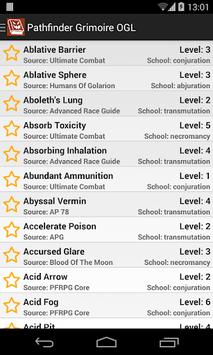 Pathfinder Grimoire OGL APK screenshot 1