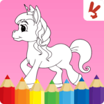 Unicorn coloring book for kids icon