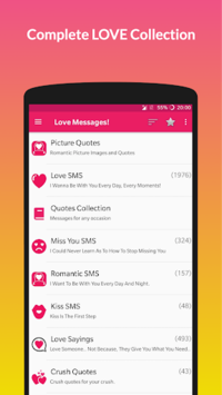 Love Messages: SMS Collection & Stickers APK screenshot 1