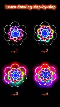 Learn To Draw Glow Flower APK screenshot 1