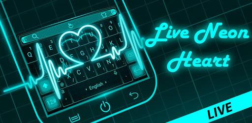 Live Neon Blue Heart Keyboard Theme pc screenshot
