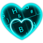Live Neon Blue Heart Keyboard Theme icon