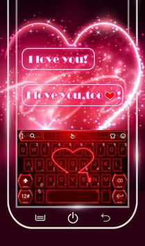 Live Neon Red Heart Keyboard Theme APK screenshot 1