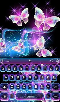 Colorful Glitter Neon Butterfly Keyboard Theme APK screenshot 1