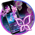 Glitter Neon Purple Butterfly Keyboard Theme APK icon