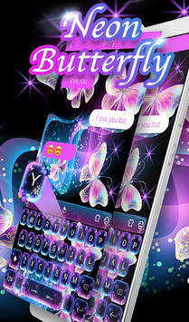 Glitter Neon Purple Butterfly Keyboard Theme APK screenshot 1