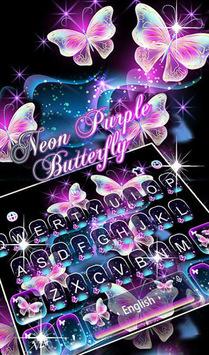 Glitter Neon Purple Butterfly Keyboard Theme APK screenshot 1