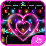 Colorful Neon Sparkling Heart Keyboard Theme icon