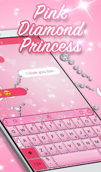 Pink Sparkling Diamond Princess Keyboard Theme APK screenshot 1