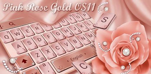 Pink Rose Gold Diamond Drops Keyboard Theme pc screenshot