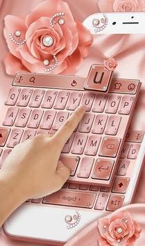 Pink Rose Gold Diamond Drops Keyboard Theme APK screenshot 1