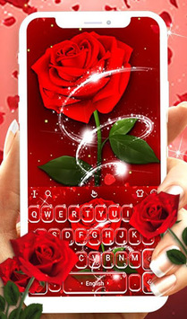 Romantic Red Rose Flower Keyboard Theme APK screenshot 1