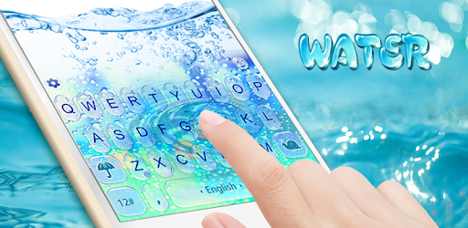 3D Blue Glass Water Keyboard Theme pc screenshot