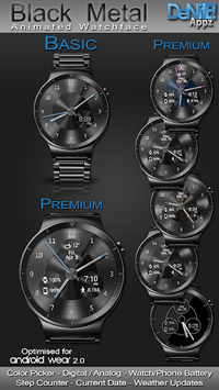Black Metal HD Watch Face Widget & Live Wallpaper APK screenshot 1