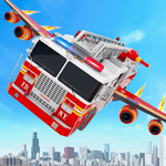 Flying Firefighter Truck Transform Robot Games icon