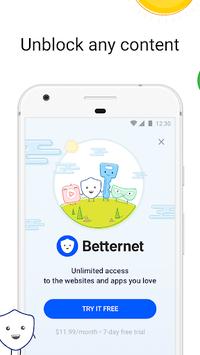 VPN Free - Betternet Hotspot VPN & Private Browser APK screenshot 1