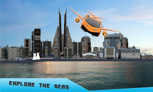 Future Flying Car Robot Taxi Cab Transporter Games APK screenshot 1