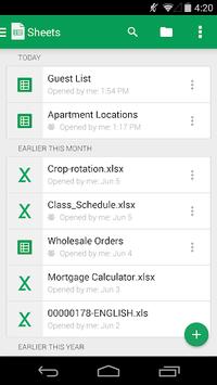 Google Sheets APK screenshot 1