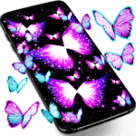 Neon butterflies glowing live wallpaper icon