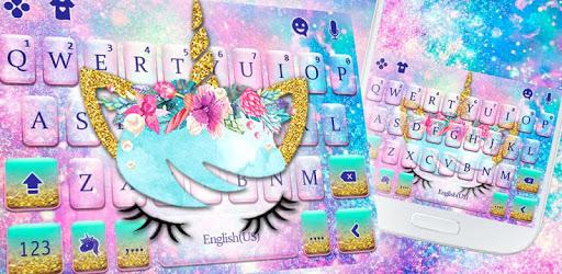 Galaxy Flower Unicorn Keyboard Theme pc screenshot
