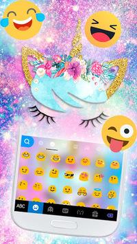 Galaxy Flower Unicorn Keyboard Theme APK screenshot 1