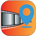 Geotagging app -location on picture photo stamp icon