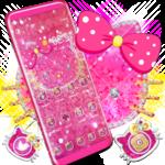 Lovely Pink Kitty Diamond Glitter Bowknot Theme icon