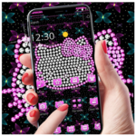 Pink Glitter Kitty Bowknot Theme icon