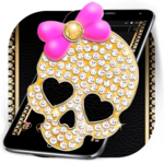 Gold Diamond Skull Pink Bowknot Theme icon