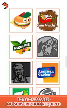 Food Logo Color by Number: Pixel Art Coloring Book APK screenshot 1