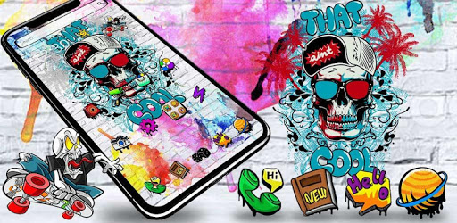 Cool Skull Graffiti Theme pc screenshot
