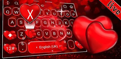 Live Red Romantic Heart Keyboard Theme pc screenshot