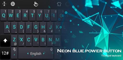 Neon Blue Power Button Keyboard Theme pc screenshot