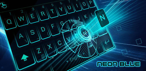 Simple Neon Blue Future Tech Keyboard Theme pc screenshot