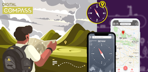 Digital compass - Map compass & Windy map pc screenshot