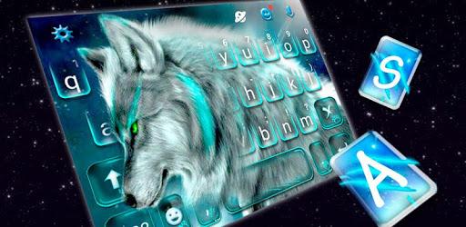 Cyan Neon Wolf Keyboard Theme pc screenshot