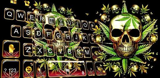 Gold Weed Skull Keyboard Theme pc screenshot