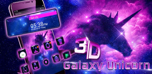 Galaxy Unicorn Glass Tech Theme pc screenshot