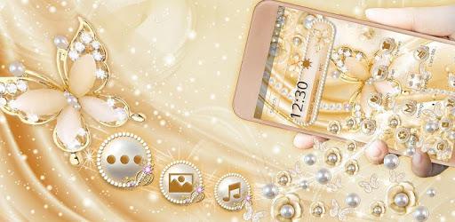 3D Golden Pearl Flower Gravity Theme pc screenshot