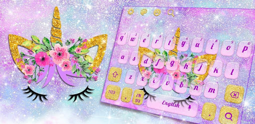 Lavender Blue Flower Unicorn Keyboard pc screenshot