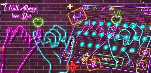 Neon Pink Sparkling Keyboard Theme pc screenshot