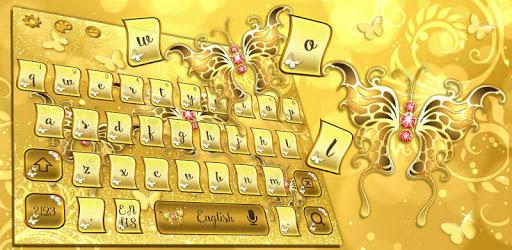 Golden Glitter Butterfly Keyboard Theme for PC - Free ...